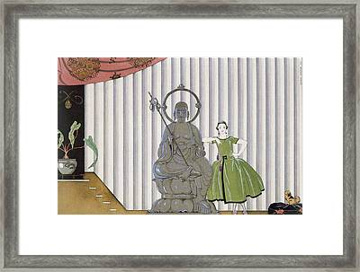 Mademoiselle Spinelly Chez Elle Framed Print by Georges Barbier