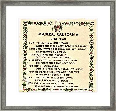 Madera Ca Little Town  Framed Print