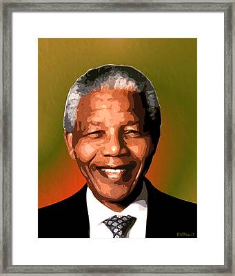 Madiba Framed Print by Walter Oliver Neal