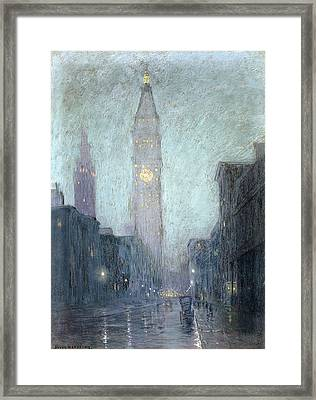 Madison Avenue At Twilight Framed Print by Lowell Birge Harrison