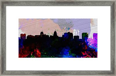 Madison City Skyline Framed Print by Naxart Studio