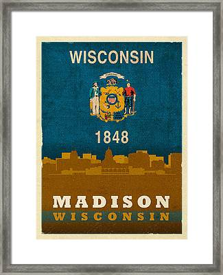 Madison City Skyline State Flag Of Wisconsin Art Poster Series 007 Framed Print