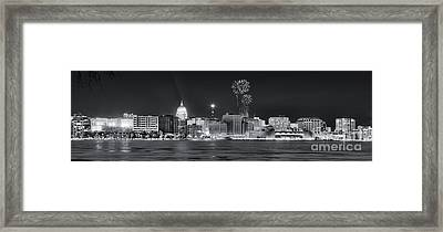 Madison - Wisconsin -  New Years Eve Panorama Black And White Framed Print by Steven Ralser
