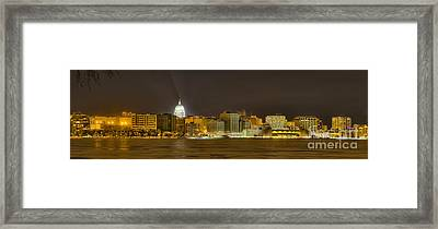 Madison - Wisconsin City  Panorama - No Fireworks Framed Print by Steven Ralser