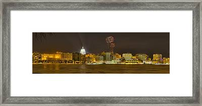 Madison Skyline New Years Eve Framed Print