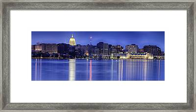 Framed Print featuring the photograph Madison Skyline Reflection by Sebastian Musial