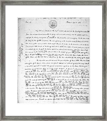 Madison To Jefferson, 1787 Framed Print