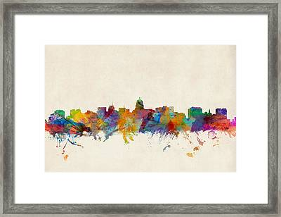 Madison Wisconsin Skyline Framed Print by Michael Tompsett