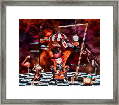 Madness In The Hatter's Realm Framed Print by Putterhug  Studio
