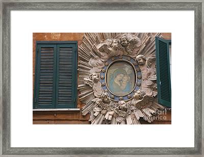 Madonna & Child Between Teal Blue Framed Print