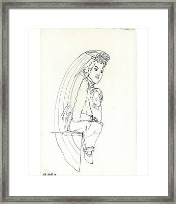 Framed Print featuring the drawing Madonna And Child by Don Koester