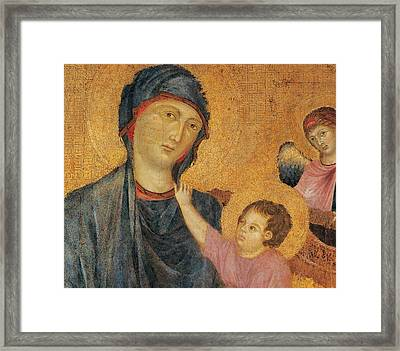 Madonna And Child Enthroned  Framed Print