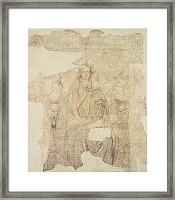 Madonna And Child Enthroned, Drawing For A Fresco Sinopia On Paper Framed Print by Paolo di Stefano Badaloni Schiavo