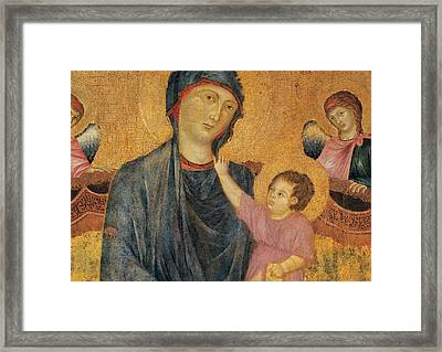 Madonna And Child Enthroned With Two Angels Framed Print