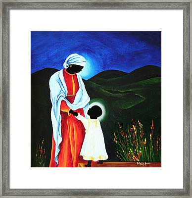 Madonna And Child  First Steps Framed Print