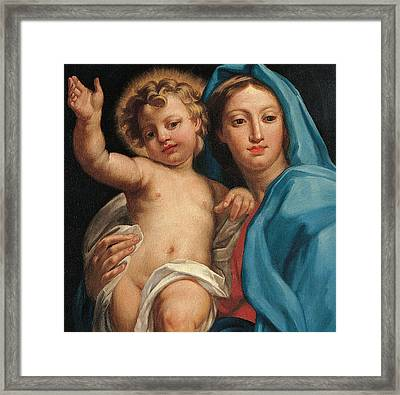 Madonna And Child Framed Print by Italian School