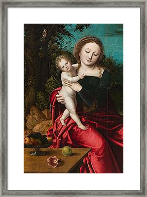 Madonna And Child Framed Print by Master of the Parrot