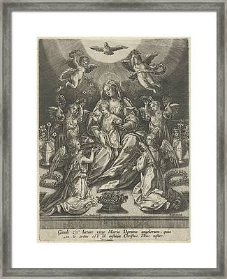 Madonna And Child Surrounded By Angels, Samuel Van Framed Print by Samuel Van Hoogstraten
