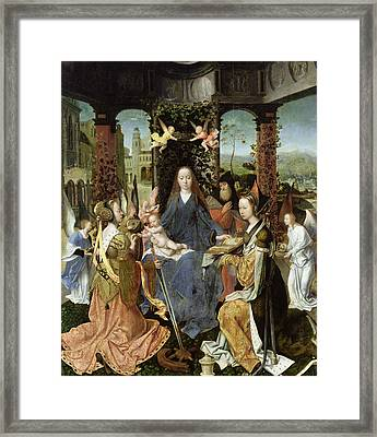 Madonna And Child With Mary Magdalene And St. Catherine Oil On Panel Framed Print by Jan Gossaert