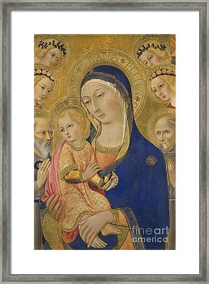 Madonna And Child With Saint Jerome Saint Bernardino And Angels Framed Print by Sano di Pietro