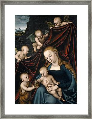 Madonna And Child With Saint John And Angels Framed Print
