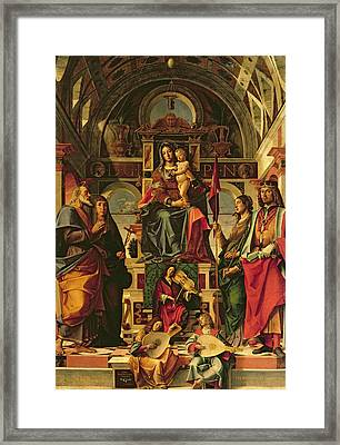 Madonna And Child With Saints Framed Print by Bartolomeo Montagna