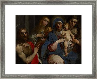 Madonna And Child With Saints John The Baptist With Mary Magdalene And Anne Framed Print