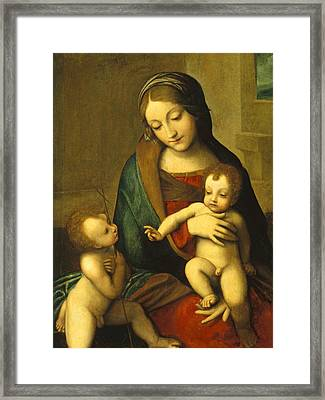 Madonna And Child With The Infant Saint John Framed Print by Antonio Allegri Correggio