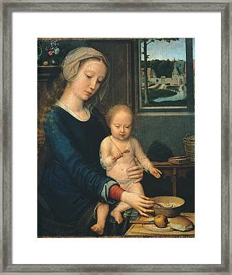 Madonna And Child With The Milk Soup Framed Print