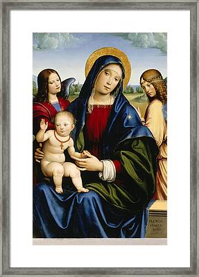 Madonna And Child With Two Angels Framed Print by Francesco Francia