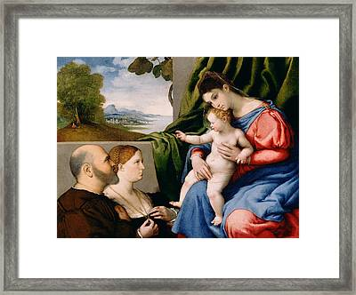 Madonna And Child With Two Donors Framed Print by Lorenzo Lotto