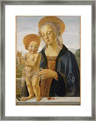Madonna And Child Framed Print by Workshop of Andrea del Verrocchio