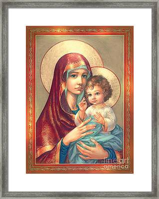 Madonna And Sitting Baby Jesus Framed Print by Zorina Baldescu