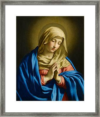 Madonna At Prayer Framed Print by Giovanni Battista Salvi