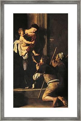 Madonna Dei Pellegrini Or Madonna Of Loreto Framed Print by Michelangelo Merisi da Caravaggio