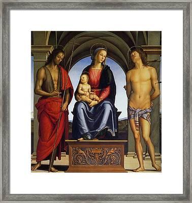 Madonna Enthroned Between Saints John The Baptist And Sebastian Framed Print by Pietro Perugino