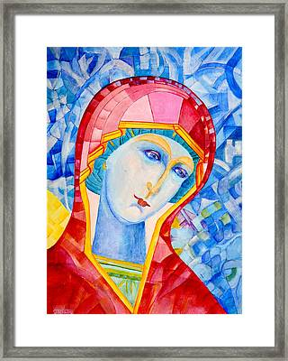 Our Lady Of Sorrows. Madonna Icon Catholic Art Framed Print by Magdalena Walulik