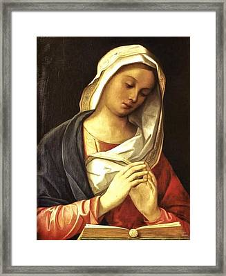 Madonna In Prayer Framed Print by Unknown