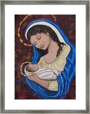 Madonna Of The Burgundy Tapestry - Cropped Framed Print