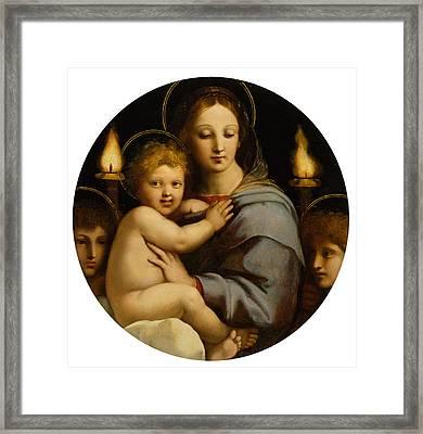 Madonna Of The Candelabra Framed Print by Raphael