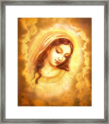 Madonna Vision In The Clouds Framed Print by Ananda Vdovic