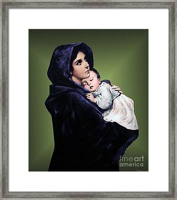 Framed Print featuring the digital art Madonna With Child by A Samuel
