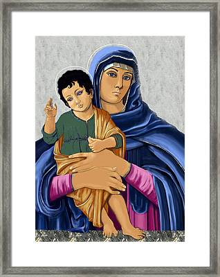 Madonna With Child Blessing Framed Print by Karon Melillo DeVega