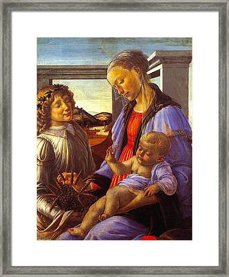 Madonna With Child Framed Print by Vintage Christmas Card