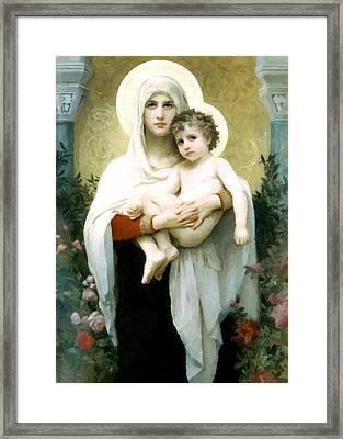 Madonna With Roses Framed Print by Munir Alawi