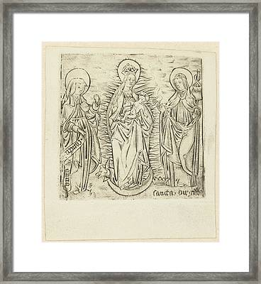 Madonna With Saint Anna And Brigitta, Anonymous Framed Print by Anonymous