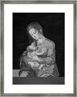 Madonna With The Child Framed Print by Miguel Rodriguez