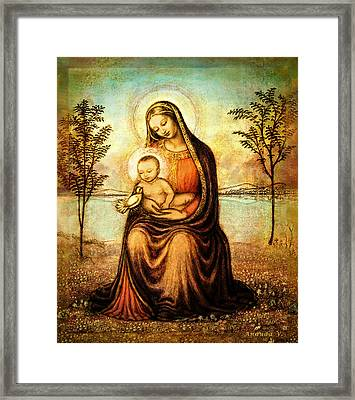 Madonna With The Dove Framed Print by Ananda Vdovic