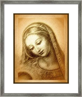 Framed Print featuring the mixed media Madonna With The Dove Face by Ananda Vdovic