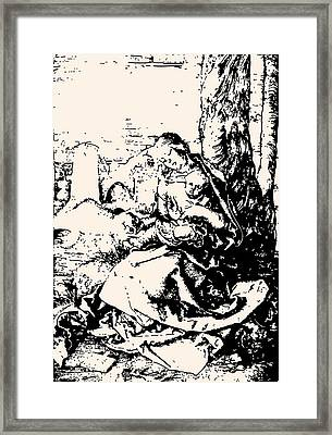 Madonna With The Pear Engraving Framed Print